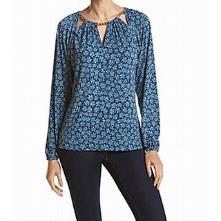 Michael Kors NEW Blue Floral Printed Cutout Small S Gold-Chain Blouse