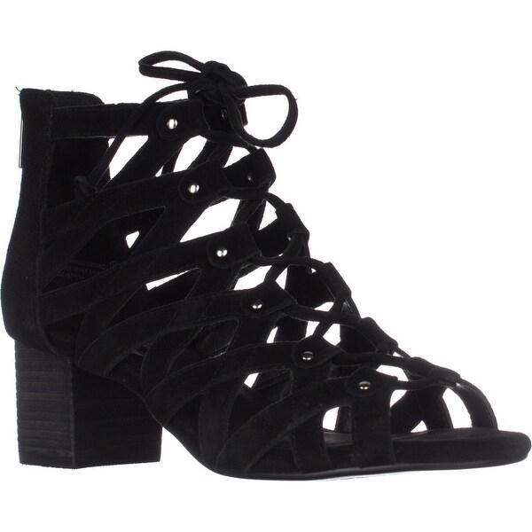 Aerosoles Middle Ground Lace-Up Sandals, Black Suede