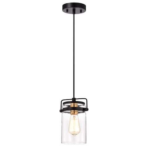 1-light Textured Black Hanging Pendant