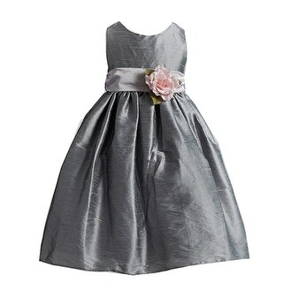 Crayon Kids Girls Silver Flower Sash Poly Silk Special Occasion Dress 8-10