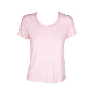 Tommy Hilfiger Ballerina Pink Short-Sleeve Crochet-Detail T-Shirt S