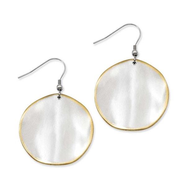 Stainless Steel Gold-Plated Edge Disc Matte Dangle Earrings