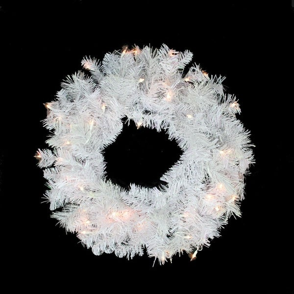 "24"" Pre-lit White Iridescent Mixed Pine Artificial Christmas Wreath - Clear Lights"
