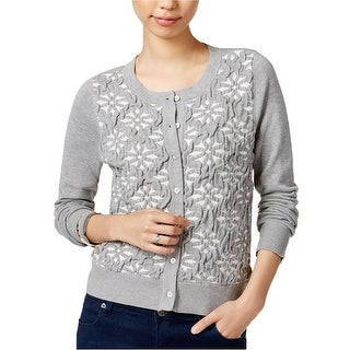 Maison Jules Long Sleeve Jacquard Cardigan Sweater Grey