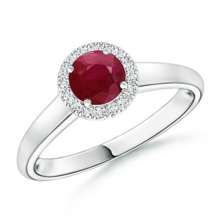 Angara Classic Round Ruby and Diamond Halo Ring (5mm) - White