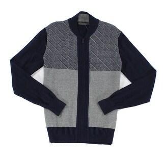 Sean John NEW Blue Grey Mens Size Medium M Knit Full Zip Sweater