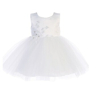 Baby Girls White Satin Embroidered Applique Tulle Flower Girl Dress