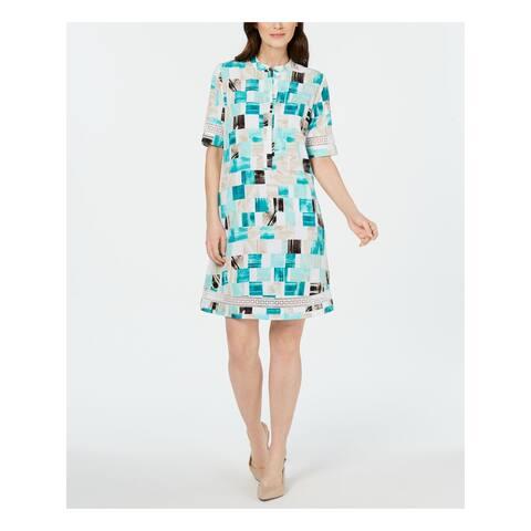 ALFANI White Short Sleeve Knee Length Shift Dress Size 6