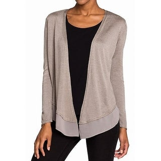 Nic + Zoe Brown Womens Size Large L Silk Open Front Cardigan Sweater