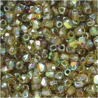 True2 Czech Fire Polished Glass, Faceted Round 2mm, 50 Pieces, Olive Brown Rainbow