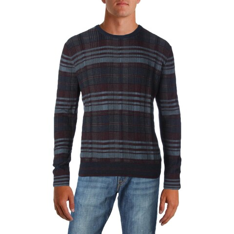 Perry Ellis Mens Pullover Sweater Striped Textured