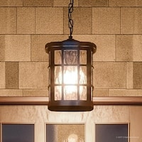 "Luxury Craftsman Outdoor Pendant Light, 15""H x 9.5""W, with Tudor Style, Parisian Bronze Finish"