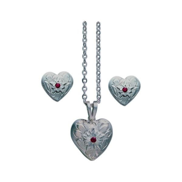 """Bar V Western Women Necklace Earrings Heart Flower 1/2"""" Silver 310-044"""