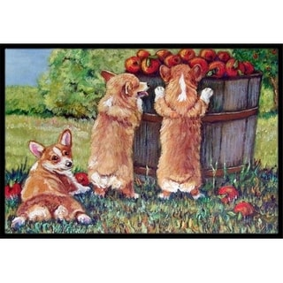 Carolines Treasures 7351JMAT Apple Helper Corgis Indoor & Outdoor Mat 24 x 36 in.