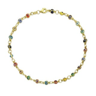 Bling Jewelry Multi Color Gold Plated 925 Silver Evil Eye Anklet 10 Inch
