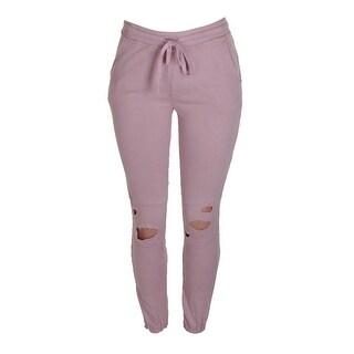 Material Girl Juniors Shimmer Pink Ripped Drawstring Sweatpants XS
