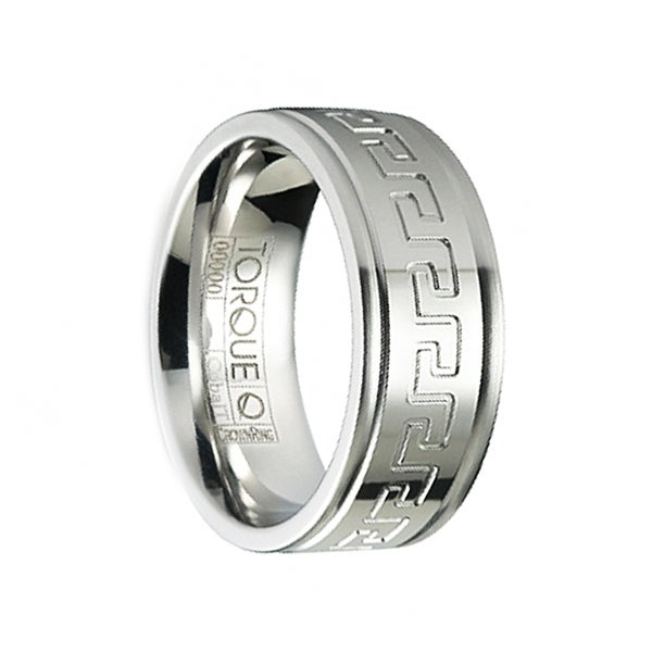 Grooved Edges Comfort Fit 8mm Tungsten Wedding Band Ring w// Greek Key Pattern