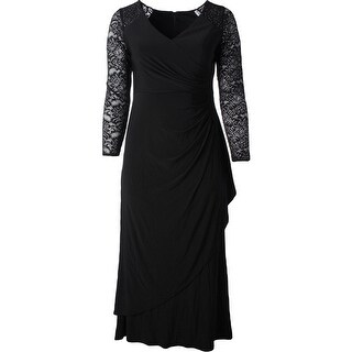 Alex Evenings Womens Petites Evening Dress Jeweled Lace Sleeve