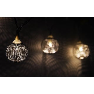Set of 10 Battery Operated Silver Wire Mesh Globe LED Patio Garden or Christmas Lights with Timer