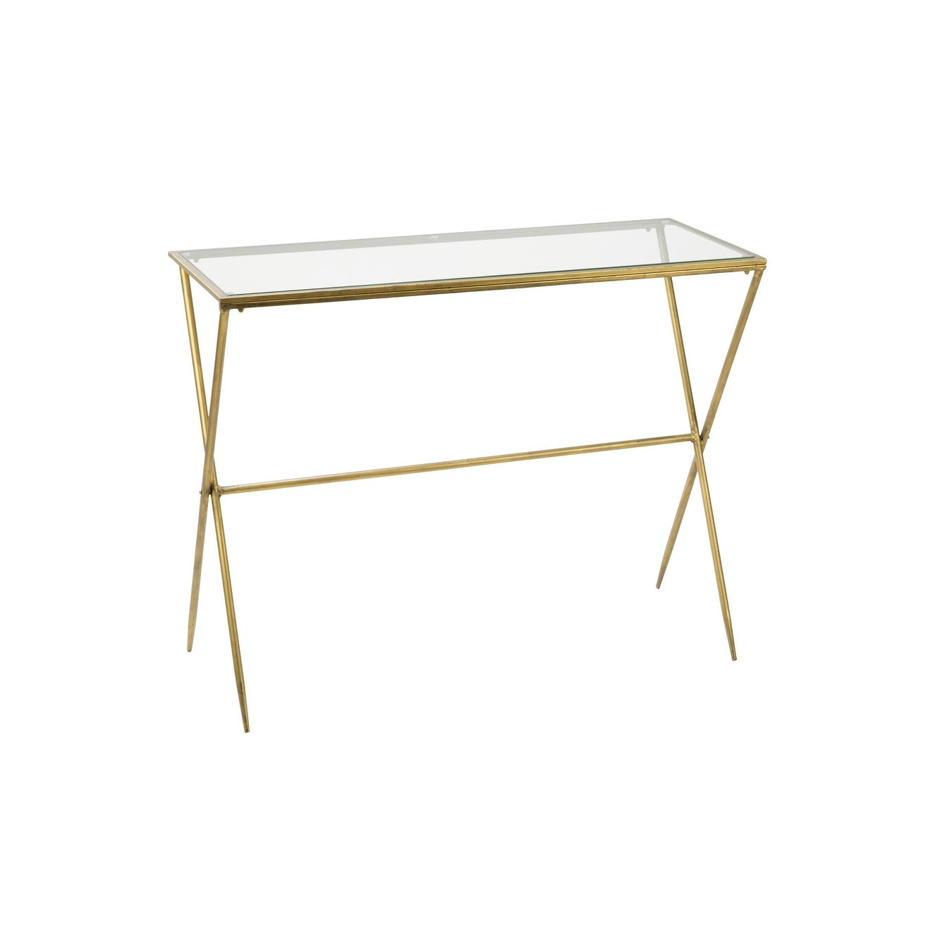Picture of: Gold Metal Slim Console Table With Glass Top Overstock 31492798