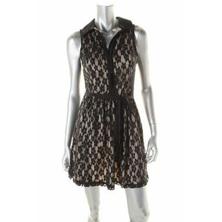 Kensie Womens Lace Sleeveless Cocktail Dress - L