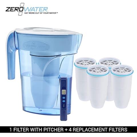 Zero Water ZP006 6 - Cup Pitcher Bundle W/ Built In TDS Meter (4 Pack) New