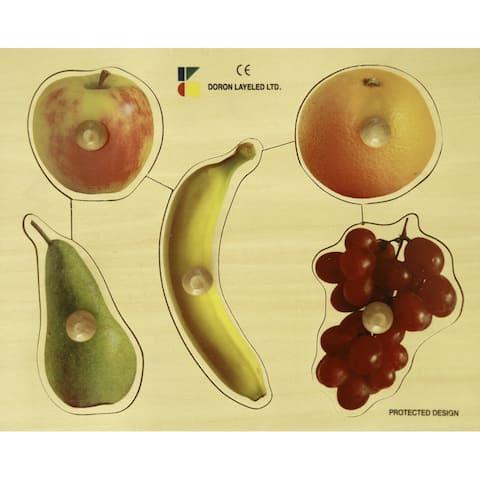 Edushape Large Knob Puzzle, Fruits Theme, 5 Pieces