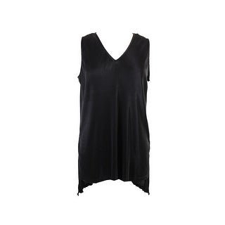 Alfani Black V-Neck Pleated Sleeveless Tunic XXL