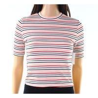 Socialite Pink White Womens Size XS Crewneck Striped Knit Top