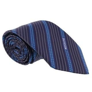 Missoni Multi Stripe Blue Woven 100% Silk Tie