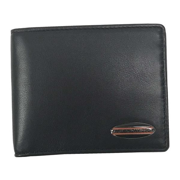 "Harley-Davidson Men's Soft Napa Leather Classic Billfold Wallet NP5709L-BLK - 4.5"" x 3.5"""