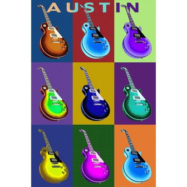 Austin, TX - Guitar Pop Art - LP Artwork (Acrylic Wall Clock) - acrylic wall clock