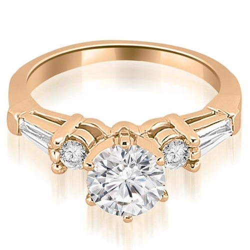 0.85 cttw. 14K Rose Gold Baguette and Round Diamond Engagement Ring