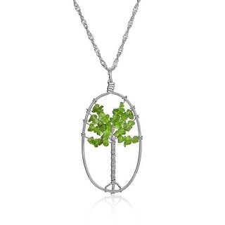 Tree of Life Wire Wrapped Prehnite Pendant Silver Plated Necklace 28 Inches - Green