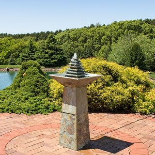 Sunnydaze Layered Slate Pyramid Outdoor Water Fountain with LED - 40-Inch