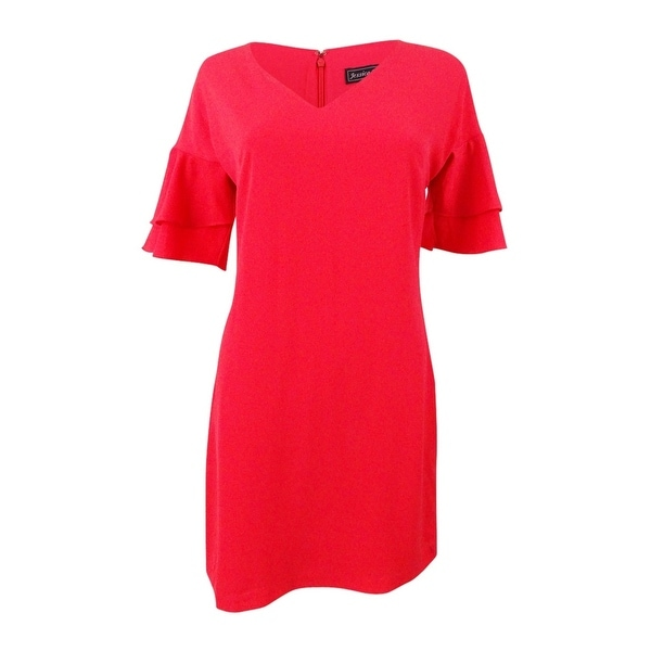 Jessica Howard Women's Petite Shift Ruffle-Sleeve Dress - Coral. Opens flyout.