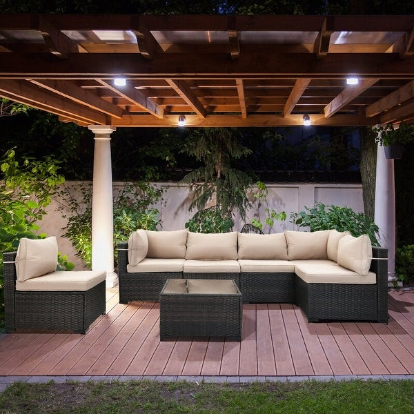 Cushioned 7 Piece Patio Wicker Conversation Sectional Group Furniture. Opens flyout.