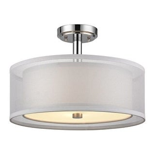 "Dolan Designs 1275 Double Organza 16"" Wide 3 Light Single Semi-Flush Ceiling Fixture with Dual Drum Shades"