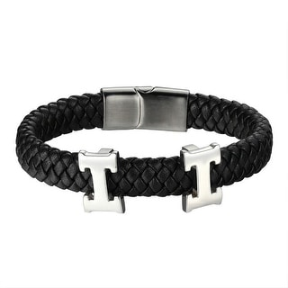 Black Braided Leather Wristband H Link Design Bracelet Stainless Steel 12 MM