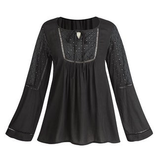 Women's Embroidered Eyelet Peasant Tunic Top