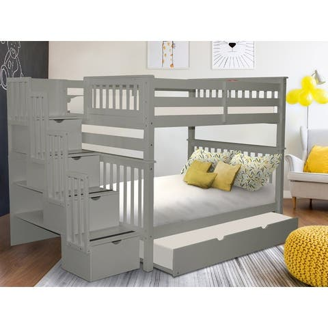 Taylor & Olive Trillium Full over Full Stairway Bunk Bed, Full Trundle