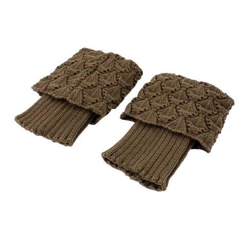 Women Winter Knitted Crochet Leg Warmers Boot Cover Cuff Socks Pair