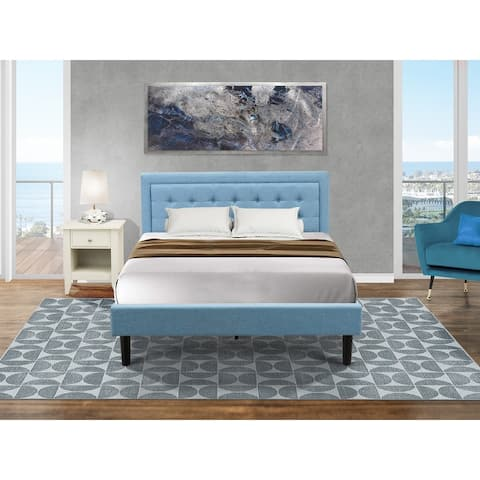 Fannin Bed Set with Queen Size Frame and an End Table for bedroom - Denim Blue Linen Fabric - ( End Table Piece Option )