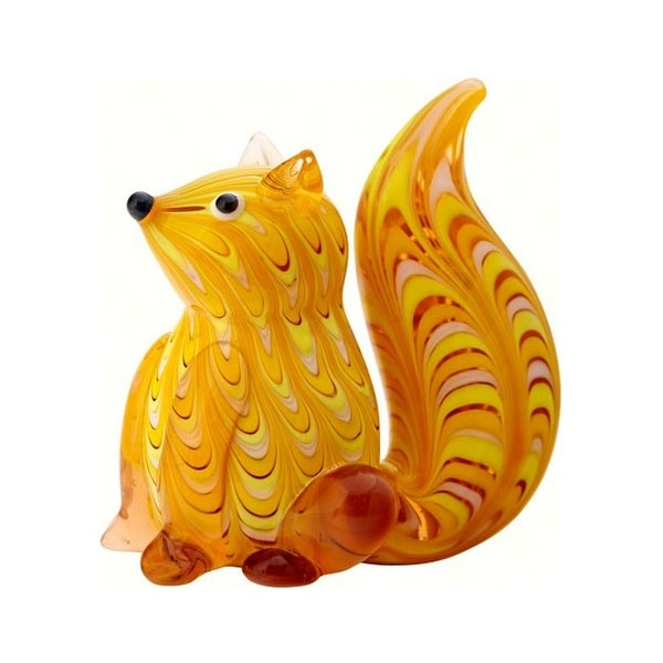 "4"" Yellow and Red Squirrel Glass Figurine Decoration - N/A"