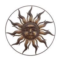 Two-Tone Bronze Finish Celestial Sun Metal Wall Sculpture