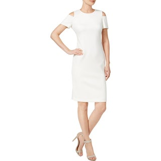 Calvin Klein Womens Petites Cocktail Dress Cold-Shoulder Knee-Length