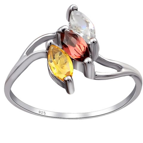 Multi Color Gemstones Sterling Silver Marquise 3-Stone Ring by Orchid Jewelry