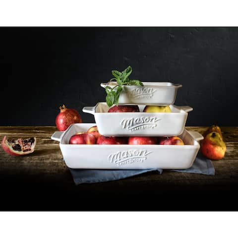 Mason Craft & More 3PC Bakeware Set - White Stoneware