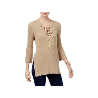 MICHAEL Michael Kors Womens Petites Pullover Sweater Knit Lace-Up