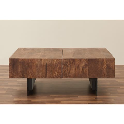 Glide Modern Industrial Sliding Top Coffee Table Handmade Solid Wood with Metal Base